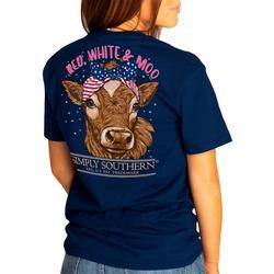 Juniors Red, White & Moo T-Shirt