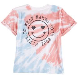 Messy Buns, Lazy Days Juniors Smiley Heart Short Sleeve Top