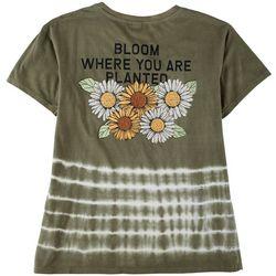 Messy Buns, Lazy Days Juniors Bloom Short Sleeve Top