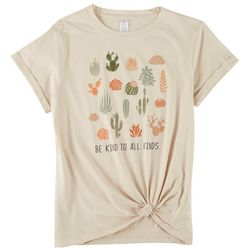 Messy Buns, Lazy Days  Juniors Be Kind Tie Short Sleeve Top