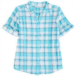 Emily Daniels Petite Printed Short Sleeve Button Blouse