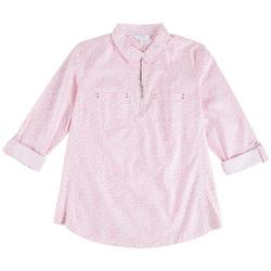 Petite Zip-Up Dotted Shirt