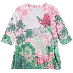 Coral Bay Petite Parrot 3/4 Sleeve Top