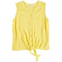 Hailey Lyn Petite Solid Tank Top Front Tie