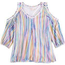 Hailey Lyn Petite Striped Fronds Cold Shoulder Top