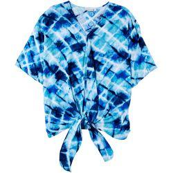 Hailey Lyn Petite Printed Tie Short Sleeve Top