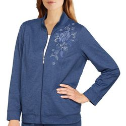 Alfred Dunner Petite Floral Embroidered Zip Jacket
