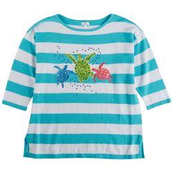 Cabana Cay Petite Turtles Striped 3/4 Sleeve Sweater