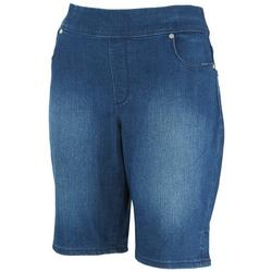 Petite Pull On Solid Denim Shorts