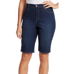 Petite Amanda Button Denim Bermuda Shorts