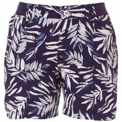 Fresh Petite Tropical Palm Leaf Cargo Shorts