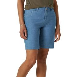 Solid Petite Denim Look Solid Bermuda Shorts