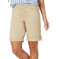 Petite Solid Flex-To-Go Utility Bermuda Shorts