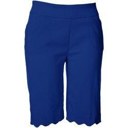 Coral Bay Petite Pull On Scallop Hem Bermuda Shorts
