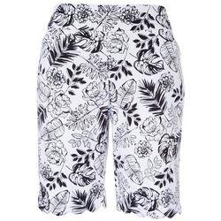 Coral Bay Petite Bicolor Scalloped Hemline Shorts