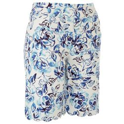 Coral Bay Petite Flowers Scalloped Hemline Shorts