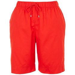 Coral Bay Petite The Everyday Solid Drawstring Twill Shorts
