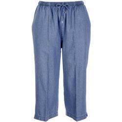Petite High Waisted Drawstring Pull On Capri Pants