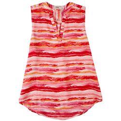 Cure Apparel Petite Split Striped Sleeveless Top