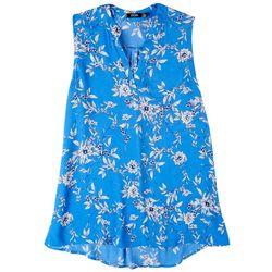 Cure Apparel Petite Split Neck Floral Sleeveless Top