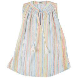 Cure Apparel Petite Multi Color Stripes Smocket Neck Top