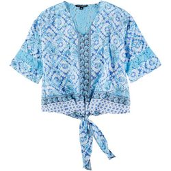 Zac & Rachel Petite Floral Mix Tie Front Tunic Top