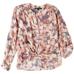 Zac & Rachel Petite Fall Floral Long Sleeve Top