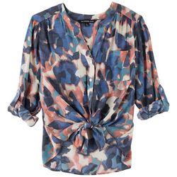 Zac & Rachel Petite Print Tie Front 3/4 Sleeve Top