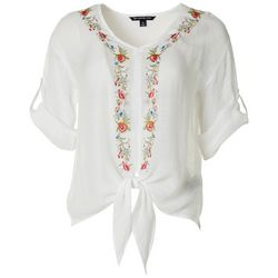 Zac & Rachel Petite Floral Embroidered Tie Front Top