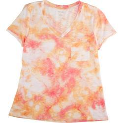 Petite Tie Dye Print V-Neck T-Shirt