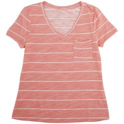 Dept 222 Petite Striped V-Neck T-Shirt