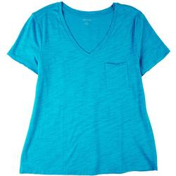 Petite Luxey V-Neck Single Chest Pocket T-Shirt