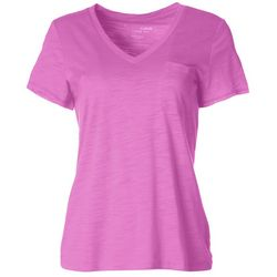 Dept 222 Petite Single Pocket V-Neck T-Shirt
