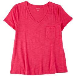 Petite Solid Color With Pocket V-Neck T-Shirt
