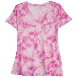 Dept 222 Petite Tie-Dye V-Neck Summer T-Shirt