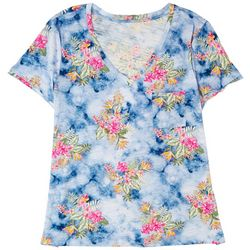 Dept 222 Womens Luxey Floral Print Short Sleeve Top