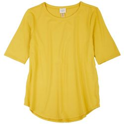Cupio Petite Fitted Short Sleeves Solid Short Sleeve Top