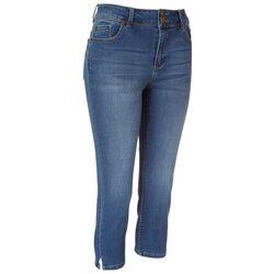 D. Jeans Petite Double Button Waist Closure Capris