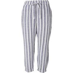 Per Se Petite Striped Linen Cropped Pants