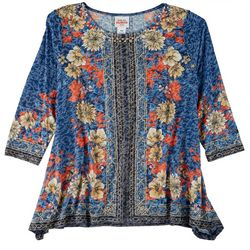 Ruby Road Petite Embellished Placed Print 3/4 Sleeve Top