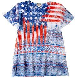 OneWorld Petite American Flag Pattern Top