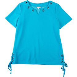 Coral Bay Petite Grommeted Tie Knit Short Sleeve Shirt