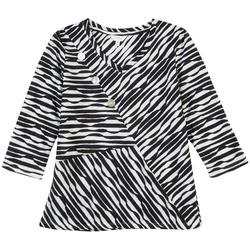 Petite Striped V-Neck Textured Top