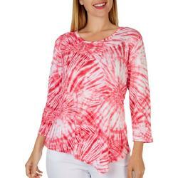 Petite Stripe Textured Short Sleeve Top