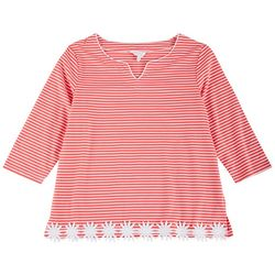Coral Bay Petite Embroidered Hemline Striped 3/4 Top