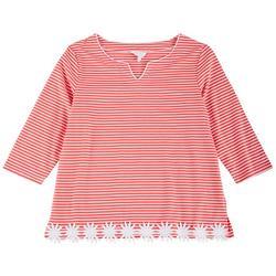 Petite Embroidered Hemline Striped 3/4 Top