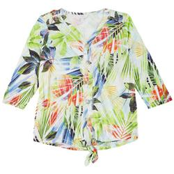Petite Front Tie V-Neck Printed Top