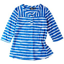 Onque Petite Mid Sleeve Two Colored Striped Top