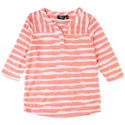 Onque Petite Textured Striped 3/4 Sleeve Top