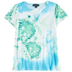 Onque Casual Petite  Turtle Printed Short Sleeve Top